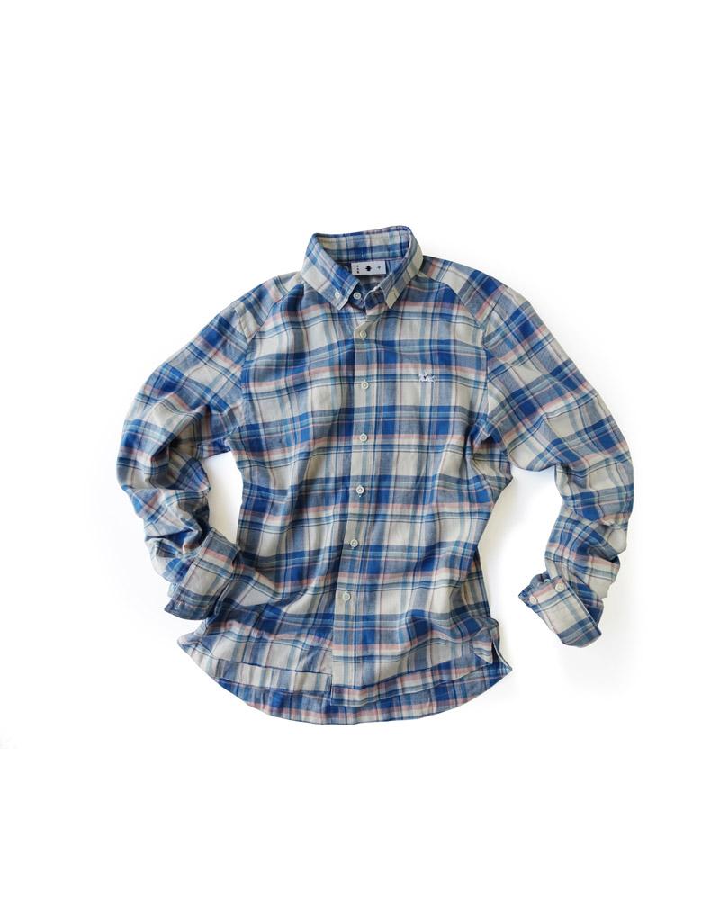 """Yoshiyuki / Jinbaori Shirt #18 """"Madras Check""""  bule and pink Image"""