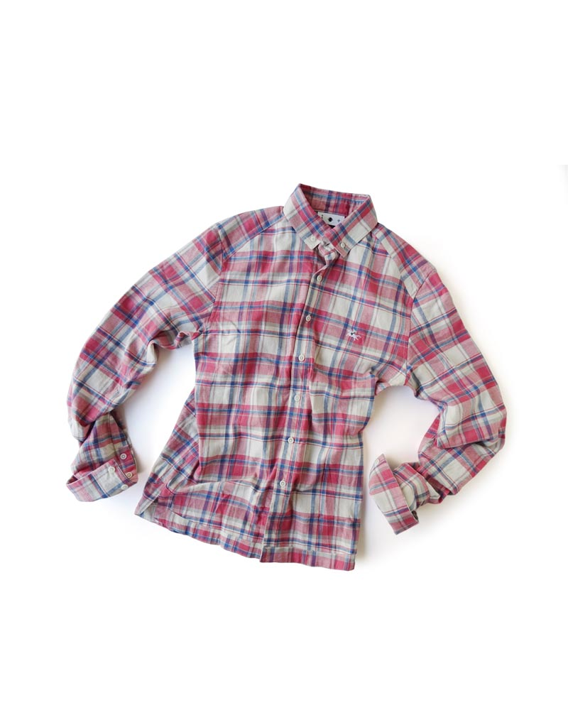 "Yoshiyuki / Jinbaori Shirt #18 ""Madras Check""  ruby and blue Image"