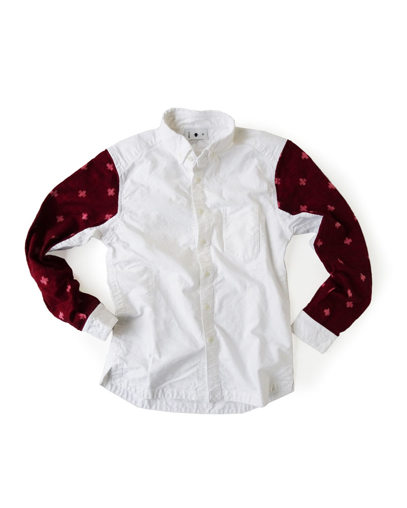 "Yoshiyuki / Jinbaori Shirt #23 ""Kasuri Cross"" Wine red on white Image"