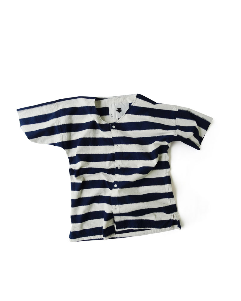 "Yoshiyuki / Dabo Shirt #2  ""Indigo Stripes"" Indigo on white Image"