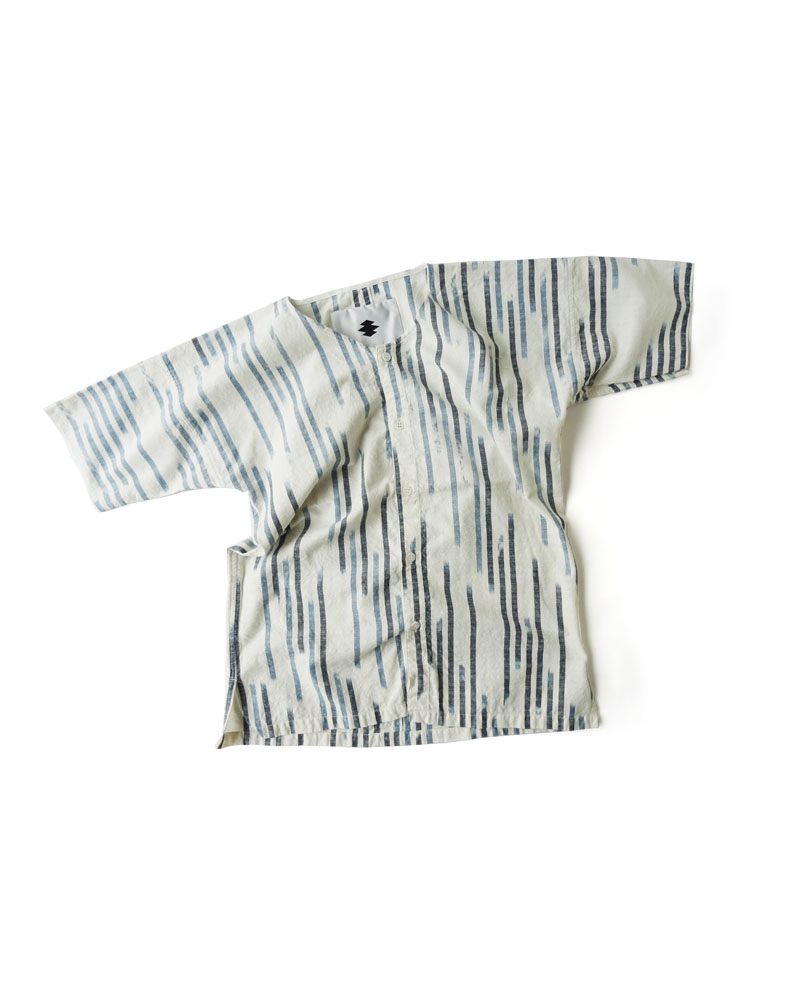 "Yoshiyuki / Dabo Shirt #2  ""Fuzzy Stripes"" Navy on white Image"