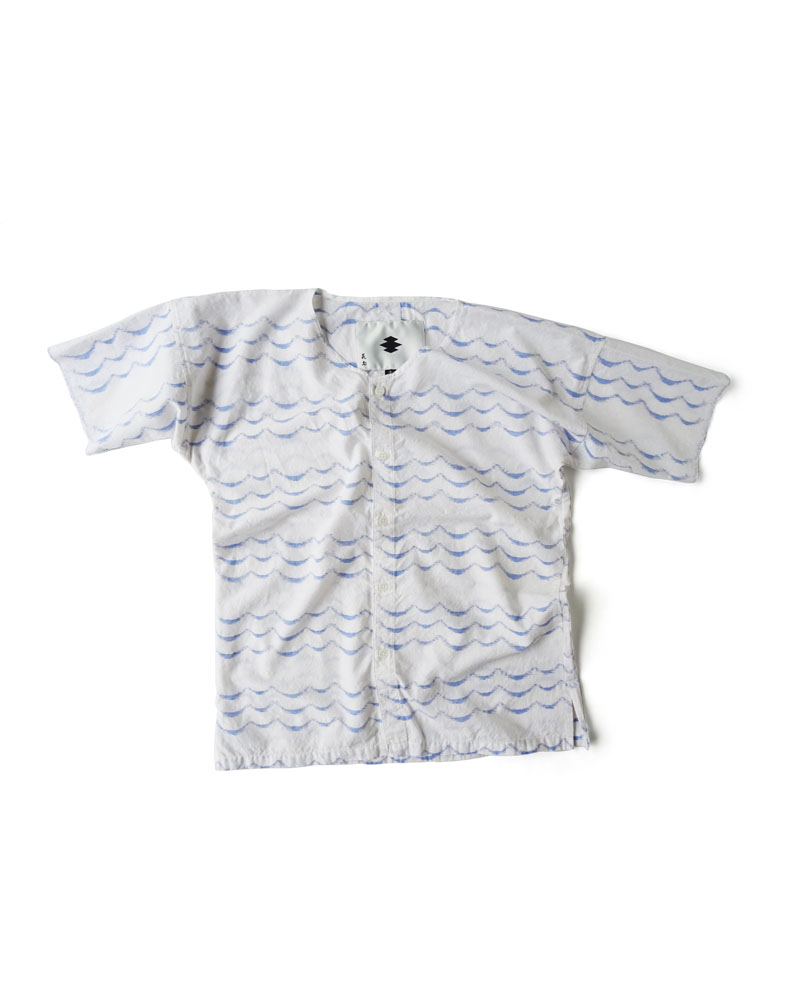 "Yoshiyuki / Dabo Shirt #2  ""Ripples"" Blue on white Image"