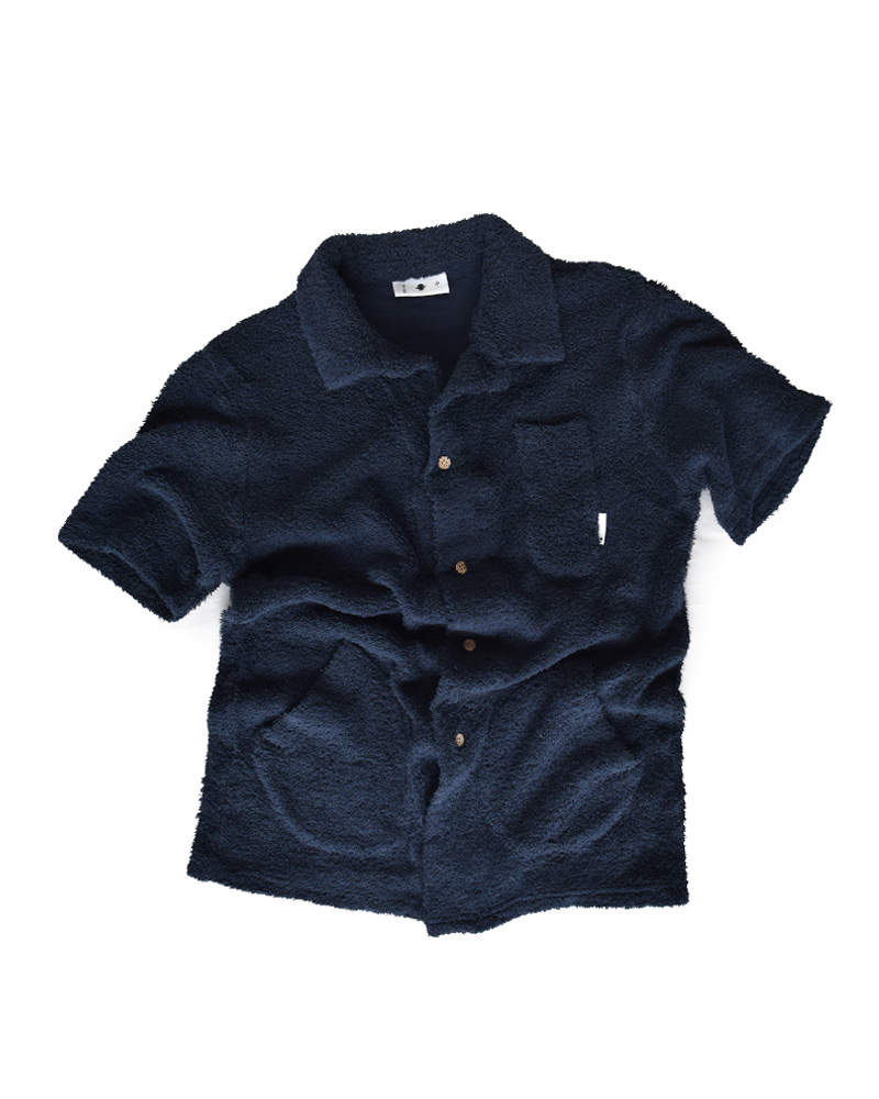 Yoshiyuki / Pile knit Work Shirt, Navy Image