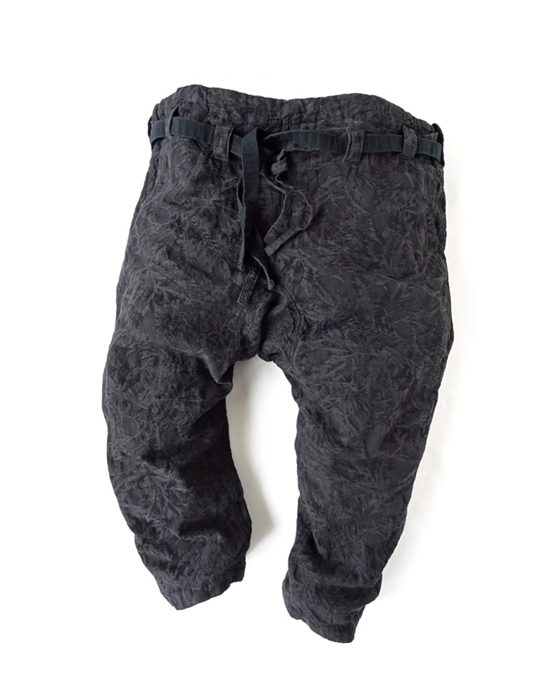"Yoshiyuki / Karate pants #12 ""Palm Leaves"", charcoal black Image"