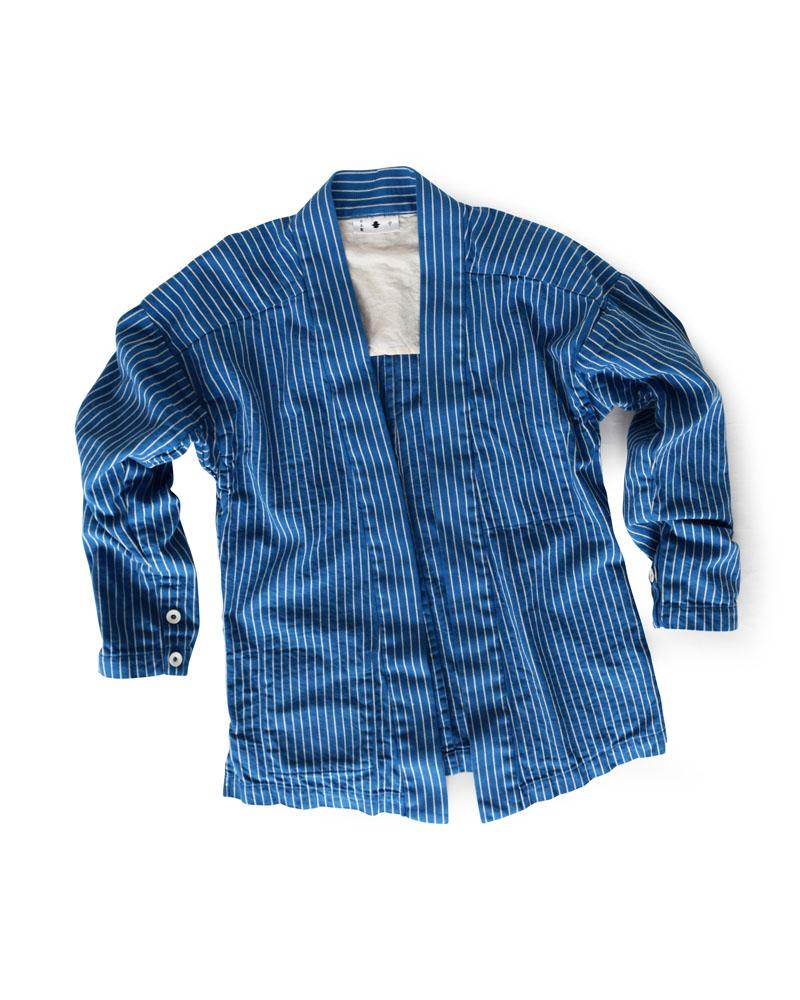 "Yoshiyuki / YAMATO #4 ""Chain Stripes"" white on blue Image"