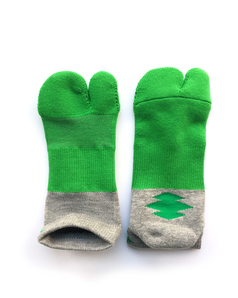 "Yoshiyuki / Tabi Socks ""Bicolor"", gray and green Image"
