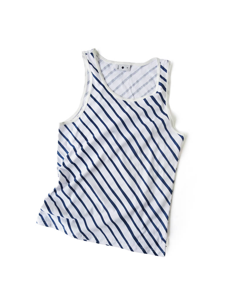 "Yoshiyuki / Tanktop #3 ""Diagonal Strokes"" Navy on white Image"
