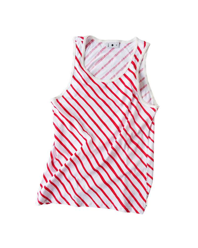 "Yoshiyuki / Tanktop #3 ""Diagonal Strokes"" Red on white Image"