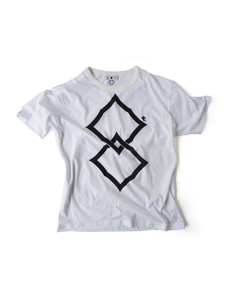"Yoshiyuki / T-shirt #90 ""Double Spiny Diamond"" White Image"
