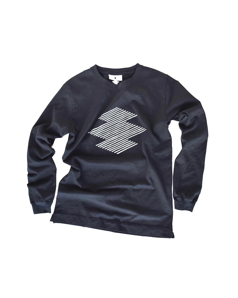 """Yoshiyuki / T-shirt #96  """"Drunk-stripe Matsukawabishi"""" Black Image"""