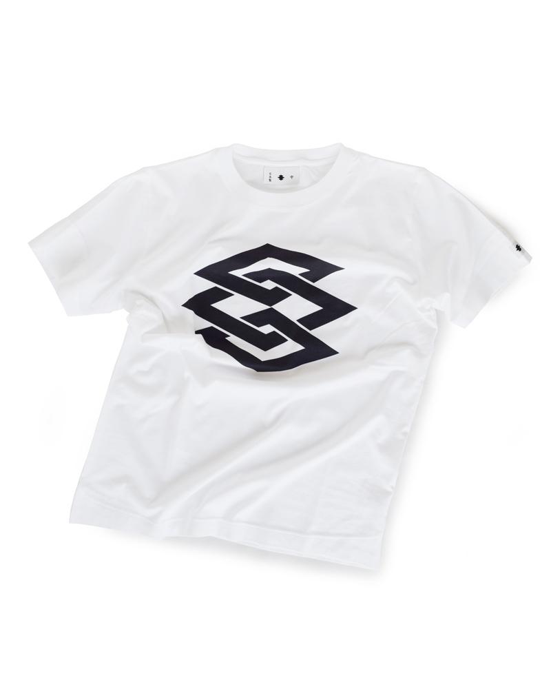 """Yoshiyuki / T-shirt #100 """"WOBBLING LOZENGE CHAIN"""" White Image"""
