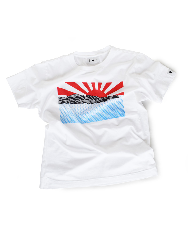 "Yoshiyuki / T-shirt #100 ""RISING SUN"" White Image"