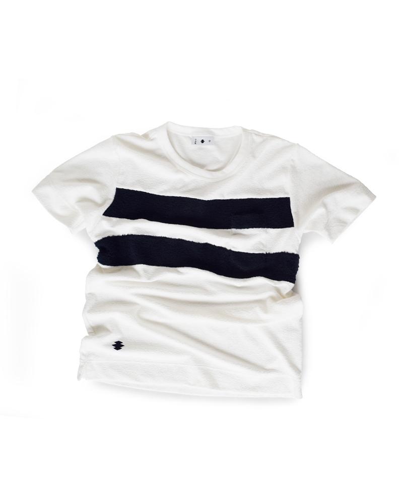 """Yoshiyuki / T-shirt #101 """"WOBBLING LOZENGE CHAIN"""" White Image"""